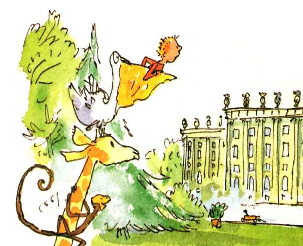Illustration by Quentin Blake from The Giraffe and the Pelly and Me by Roald Dahl